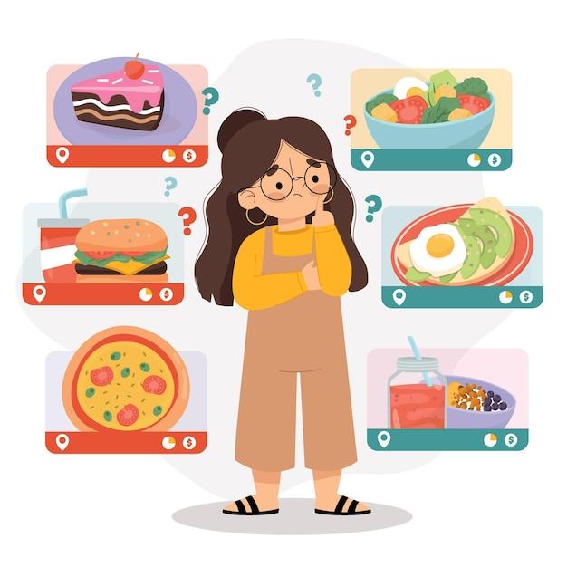 건강에 해로운 음식과 건강에 해로운 음식 사이에서 선택하는 여자 무료 벡터