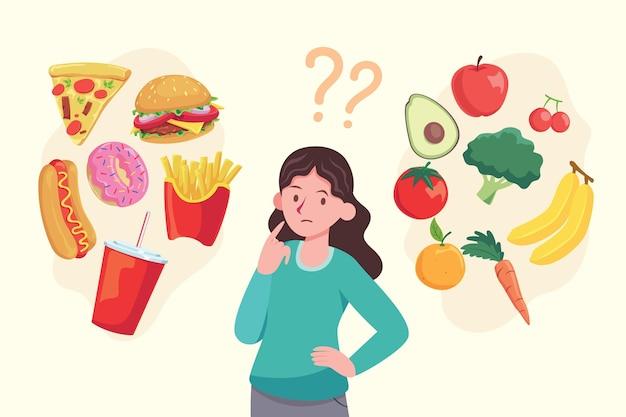 Женщина выбирая концепцию еды Бесплатные векторы