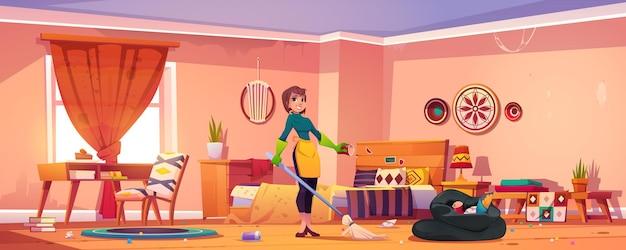 보헤미안 스타일의 여자 깨끗한 침실. 무료 벡터