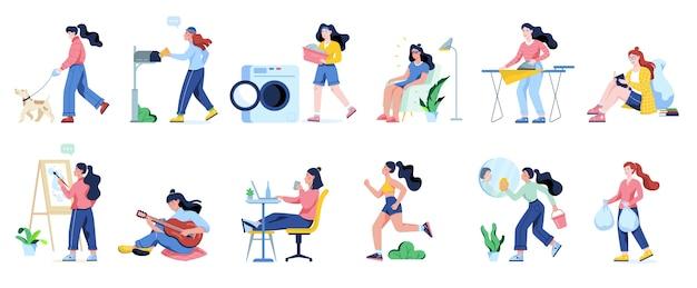 Женщина убирает дом и делает работу по дому. домохозяйка занимается повседневными домашними делами. иллюстрация Premium векторы
