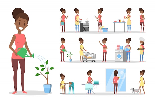 Woman clean home and doing a housework set. housewife doing everyday domestic routine.    illustration Premium Vector