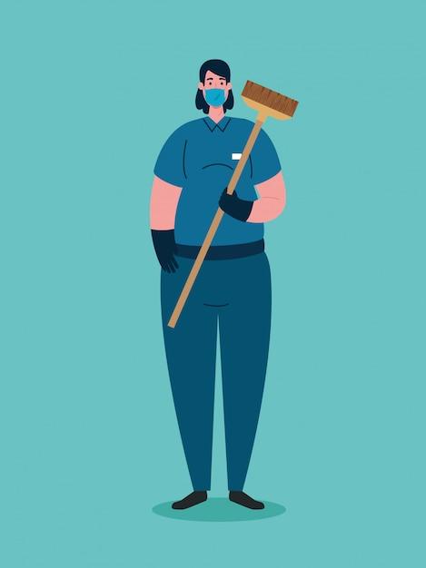 Женщина-уборщица, использующая медицинскую маску во время скрытой пандемии 19 Premium векторы