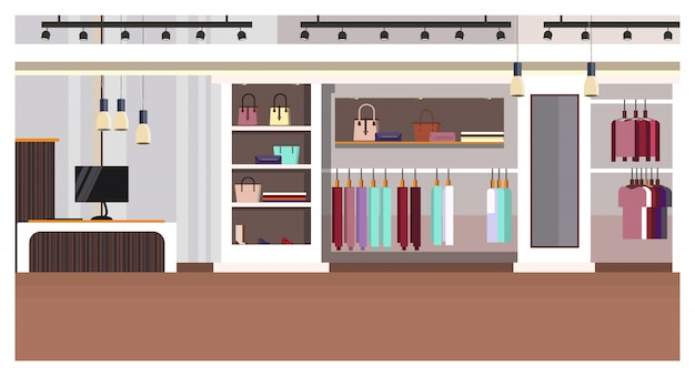 Woman clothing store interior with checkout counter, bags Free Vector