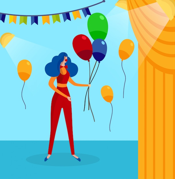 Woman in clown costume on backstage background. Premium Vector