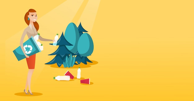 Woman collecting garbage in forest. Premium Vector