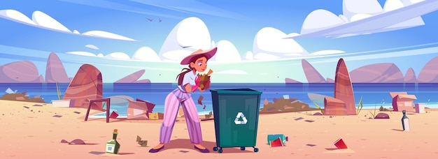 Woman collects trash to garbage bin on sea beach. Free Vector