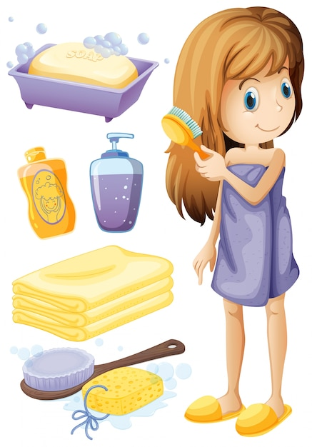 Woman combing hair and bathroom set illustration Free Vector