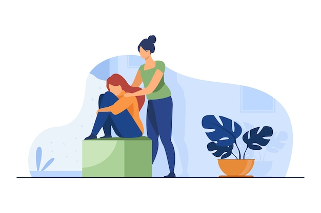 Woman comforting depressed friend. giving support to upset mate flat vector illustration. friendship, depression, help Free Vector