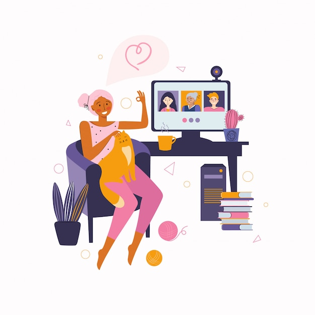 Woman communicates with friends and family online video communication. spending time at home. video call to friends Premium Vector