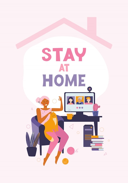 Woman communicates with friends and relatives through online video communication. spending time at home. desktop computer with group of people taking part in video conference. call to friends Premium Vector