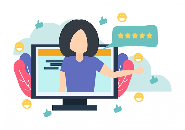 Woman in computer tell good review for online service Premium Vector