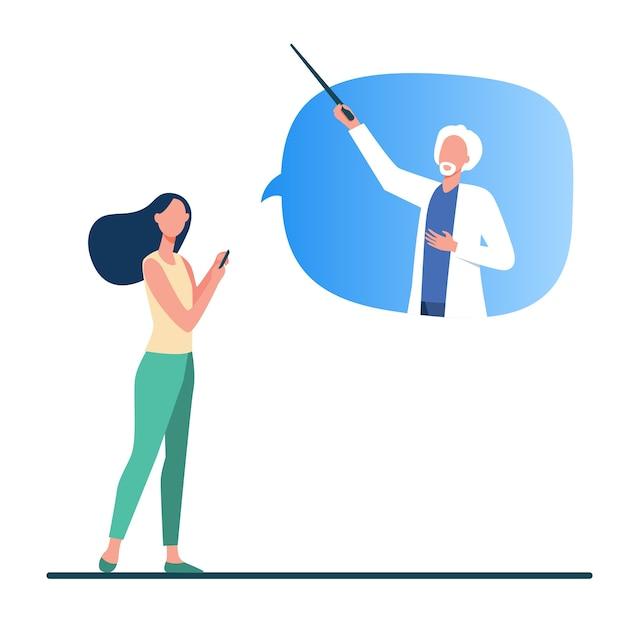 オンラインで医師に相談する女性。電話、吹き出しフラットベクトル図の上級医師の患者。インターネット、医療相談 無料ベクター