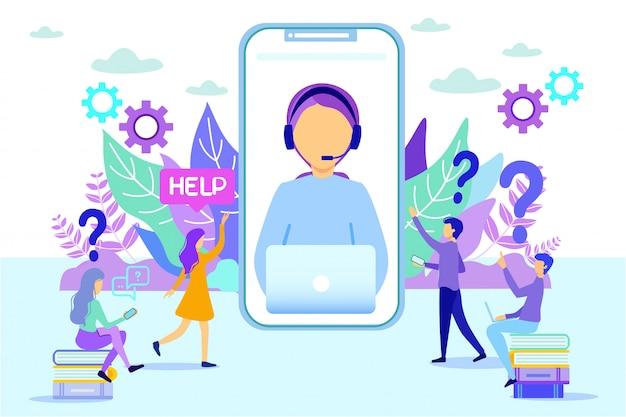 Woman consulting people служба поддержки клиентов Premium векторы