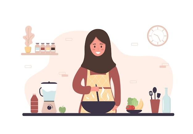 女性が台所で料理。ランチやディナーに自家製の食事を準備する笑顔の女の子。 Premiumベクター