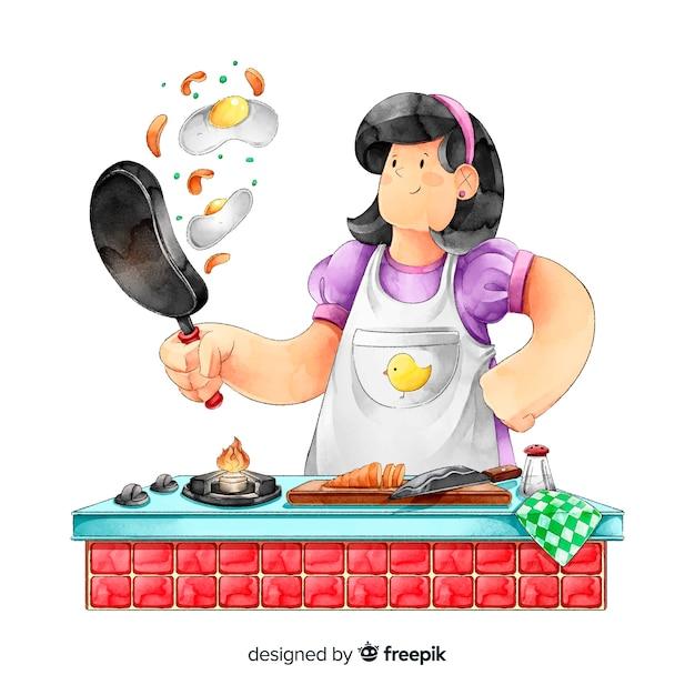 Donna che cucina in cucina Vettore gratuito