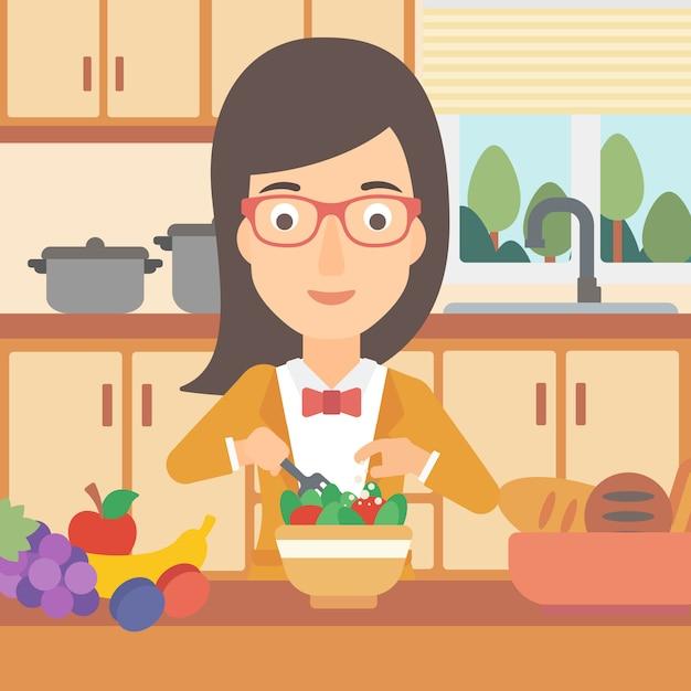 Woman cooking vegetable salad. Premium Vector
