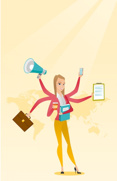 Woman coping with multitasking. Premium Vector