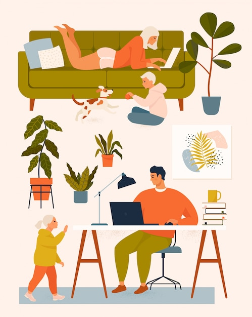 Woman on the couch, man at the desk working at home with the computer and children playing with the dog Premium Vector