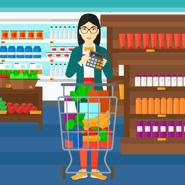 Woman counting on calculator in the supermarket Premium Vector