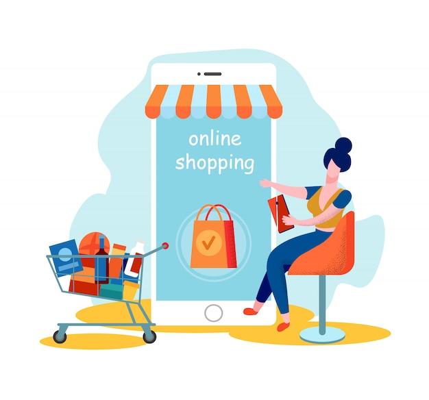 女性のお客様がオンラインショッピングのためのモバイルアプリを使用する Premiumベクター