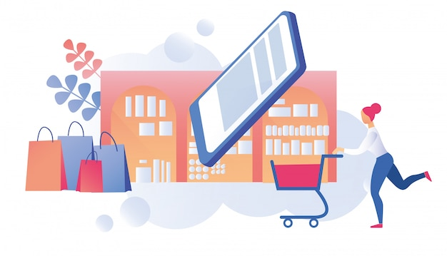 Woman customer with cart on shopping tour online Premium Vector