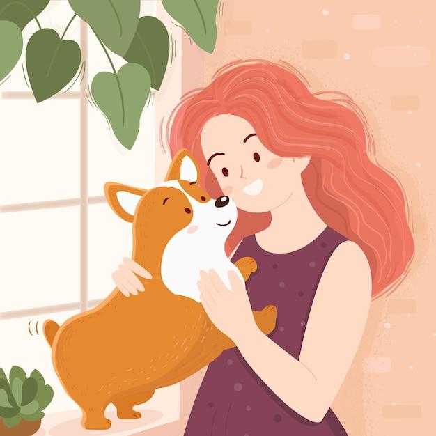 Woman and cute corgi dog Free Vector