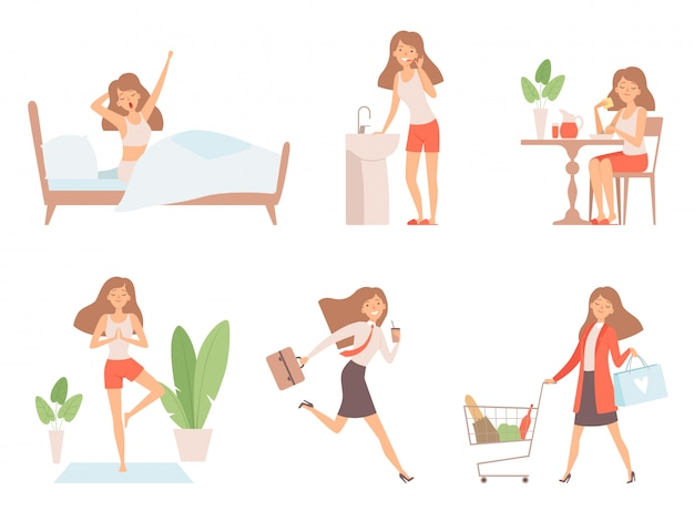 Woman daily routine. business lady time management life every day process working mother  cartoon characters Premium Vector