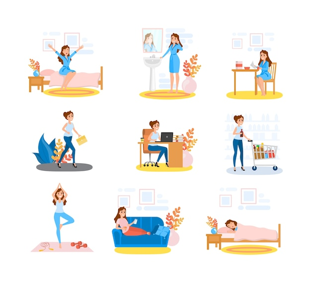 Woman daily routine set. female character doing Premium Vector