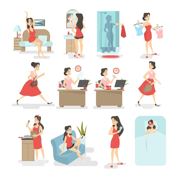 Woman daily routine. waking up, having breakfast, taking shower, going to the work and other activities. busy woman lifestyle.   illustration Premium Vector