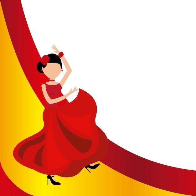 Woman dancing flamenco classic icon of spanish culture Premium Vector