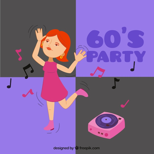 Woman dancing in a sixties party\ background