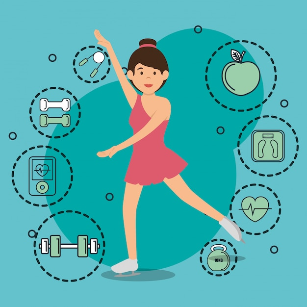 Woman dancing with sports icons Free Vector