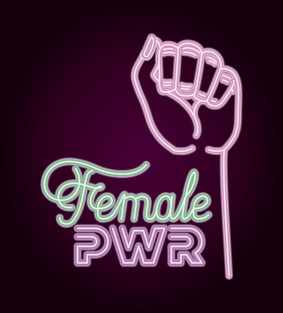 Woman day neon label with hand fist Premium Vector
