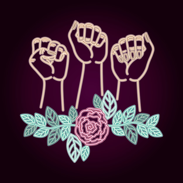 Woman day neon label with hands fist and roses Premium Vector
