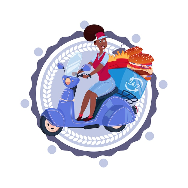 Woman deliver food riding retro scooter delivery icon isolated template logo Premium Vector