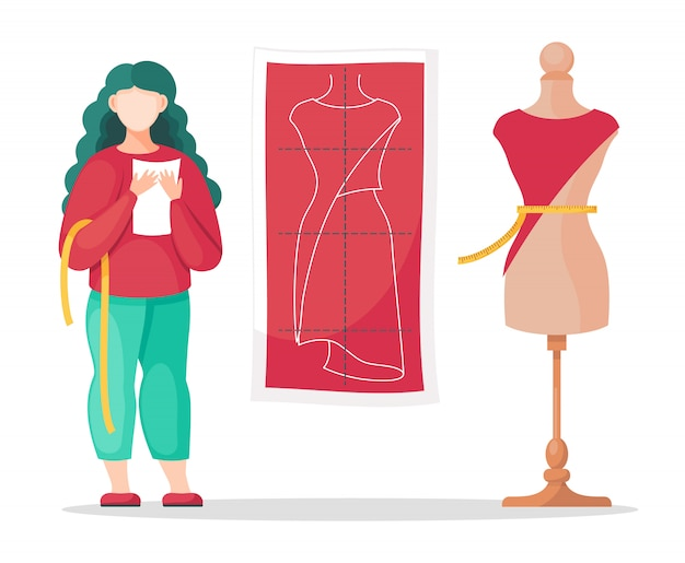 メジャーウエスト、ノート、テーラースケッチパターン、ドレスとマネキンを作る女性デザイナー Premiumベクター