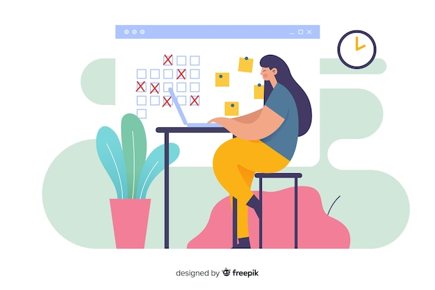 Woman at desk looking at calendar organiser landing page Free Vector