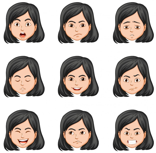 Woman and different facial expressions Free Vector