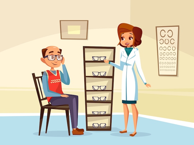 Woman doctor ophthalmologist helps adult man patient with diopters glasses selection. Free Vector