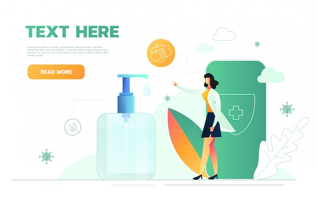 Woman doctor recommend to use an alcohol gel isolated over white background. illustration. Premium Vector