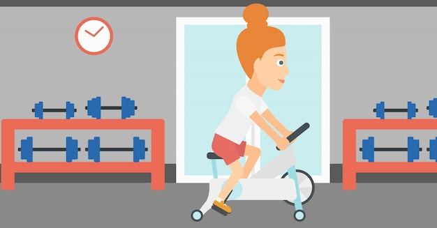 Woman doing cycling exercise. Premium Vector