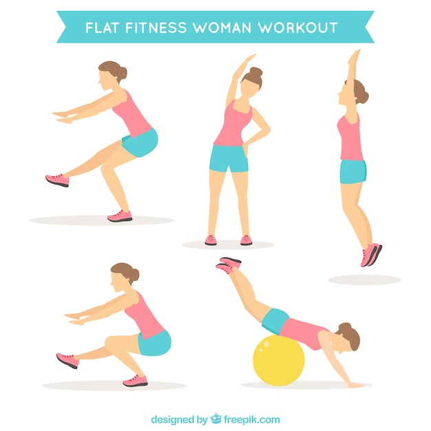 Woman doing different exercises in flat design Free Vector