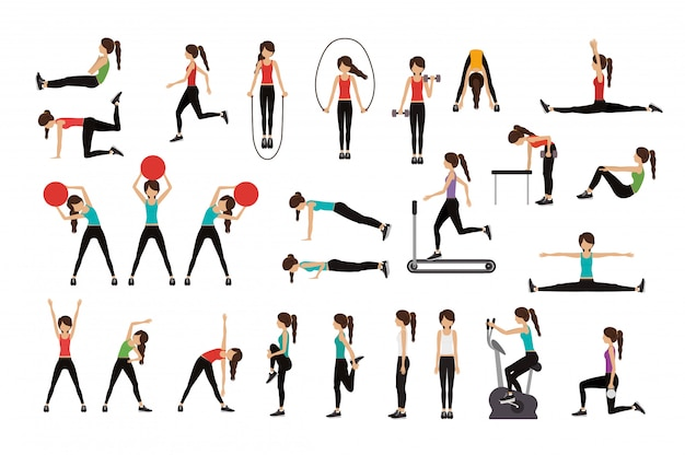 Woman doing excercise vector illustration Free Vector