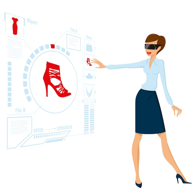 将来のビジネスイラストをしている女性 無料ベクター