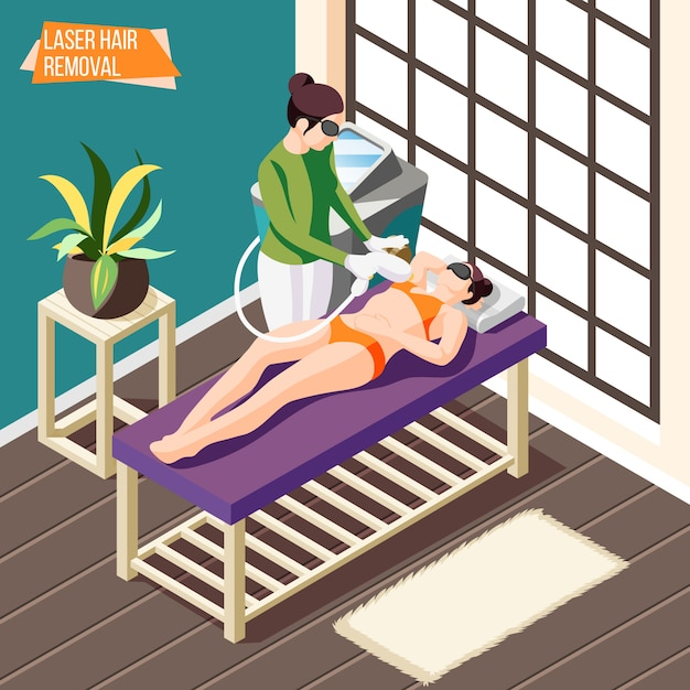 Woman doing laser hair removal procedure in beauty salon isometric  3d Free Vector