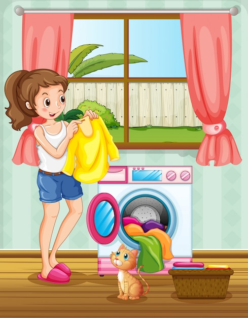Woman doing laundry in the house Free Vector