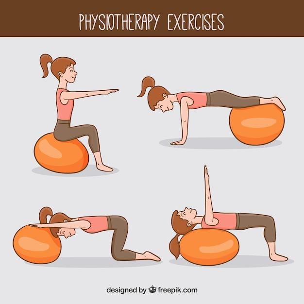 Женщина делает упражнения на физиотерапию Бесплатные векторы