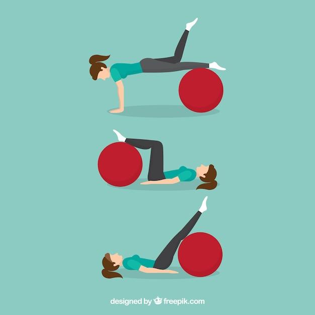 Woman doing rehabilitation exercises Free Vector