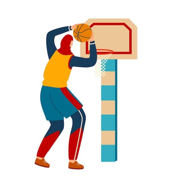 スポーツをしている女性、バスケットボールをしている女の子 Premiumベクター