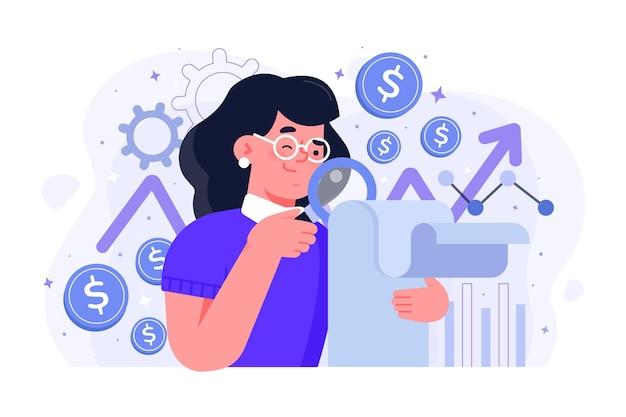 Женщина делает анализ фондового рынка Premium векторы